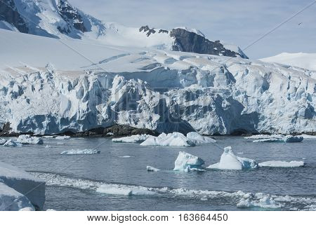 glaciers and mountains on the coast of the Antarctic Peninsula a sunny summer day