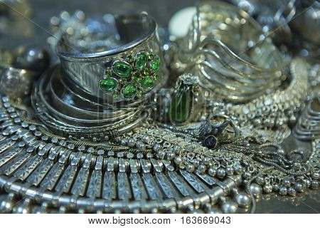 Silver jewelry with Emerald. Lot of Beautiful Oriental Silver Gold (Indian Arab African). Fashion Ethno Accessories Asian Bridal jewelry. Tribal Moroccan Jewelry. Necklace Earrings Bracelets