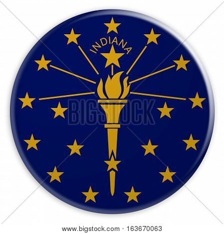 US State Button: Indiana Flag Badge 3d illustration on white background