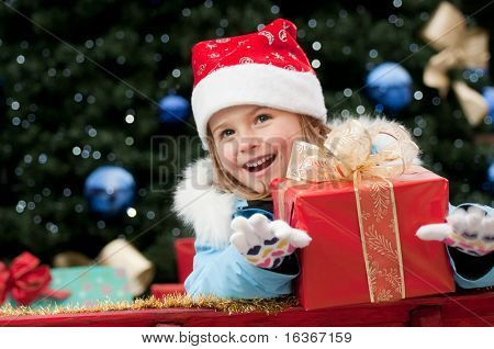 Little Santa Claus with Christmas presents