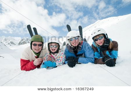 Happy family ski team