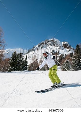 Woman skiing,