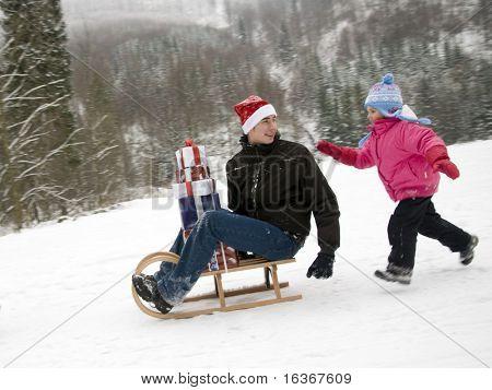 Chasing Santa Claus - intentional motion blur