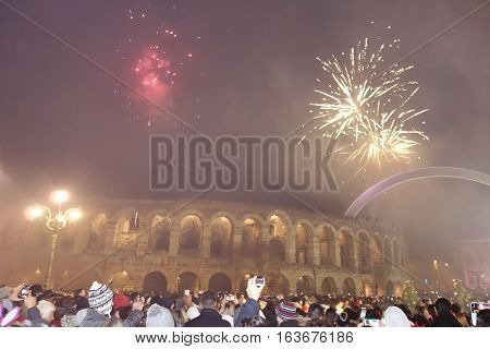VERONA,ITALY January 1  2017: New year day in Verona with fireworks