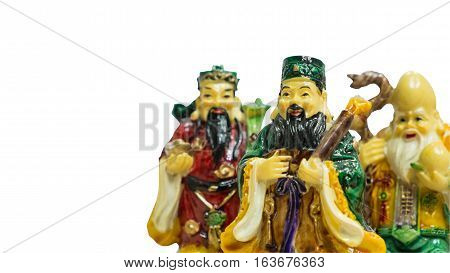 Still believe of Chinese lucky gods Fu Lu Shou statues. Isolated of Fu Lu Shou Symbol of wealth good luck prosperity.
