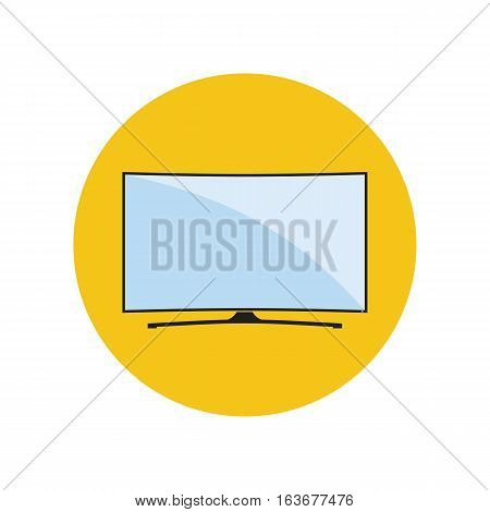 Modern curved TV icon in flat style. LED smart TV symbol in an yellow circle. Vector eps8 illustration.