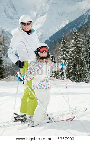 Skiing with mother