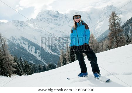 Teenage girl on ski portrait