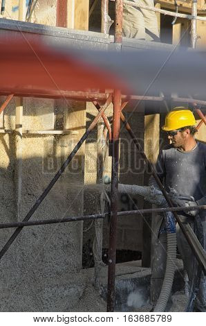 Cascina Italy - November 06 2015: Construction of a passive house