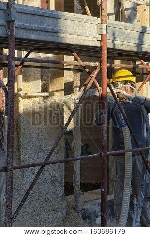 Cascina Italy - November 06 2015: Construction of eco friendly house