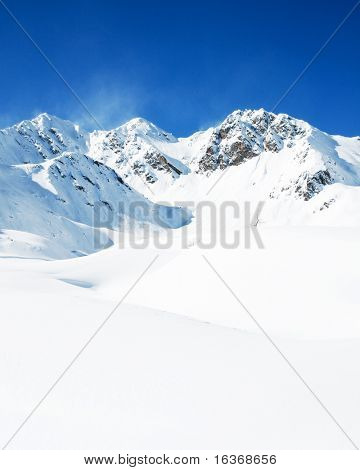 Winter mountains - space for text