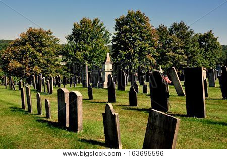 Rockingham Vermont - September 18 2014: 18th-19th century gravestones at the 1787 Meeting House Church burial ground