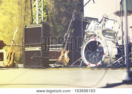 Live Concert Scene  Bass Guitar And Speakers, Vintage Effect