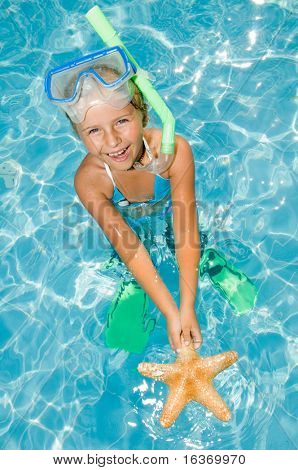 Happy summer vacation - snorkel girl with starfish