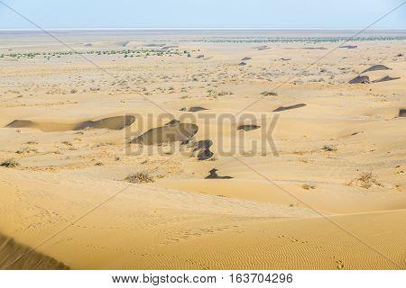 Barchan dunes of Maranjab Desert in Iran