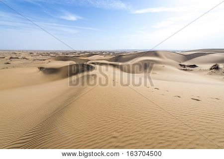 Aerial view with large amount of sand dunes on Maranjab Desert in Iran