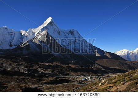 Travel destination in the Everest National Park Nepal. Famous mountain Ama Dablam.