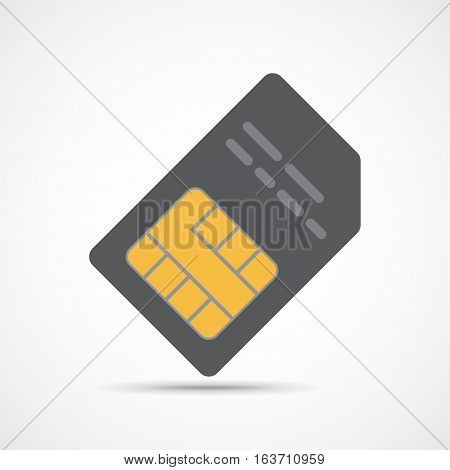SIM card icon in flat design. Vector Illustration. Gray smartcard icon isolated on light background.