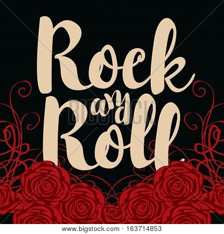 vector banner with the words rock and roll and roses