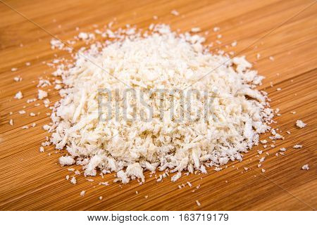 Plain White Bread Crumbs Isolated On A Wood Background