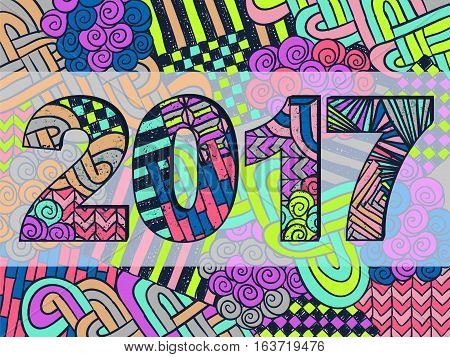 New Year 2017 Zentangle Holiday Background Colorful 1