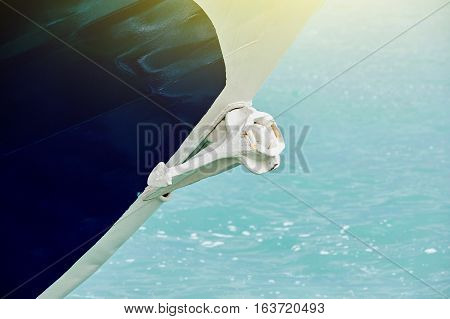 Yacht detail - anchor on modern yach boat on a sunny day