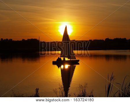 sailboat on the lake -  sunset landscape