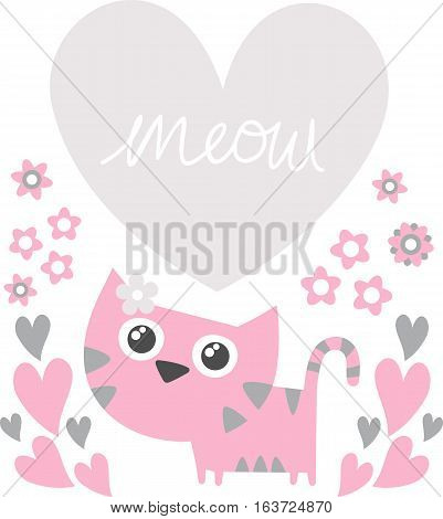 cute kitten with flowers and heart for copy space isolated on white background