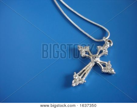 Sliver Jewelled Cross And Chain