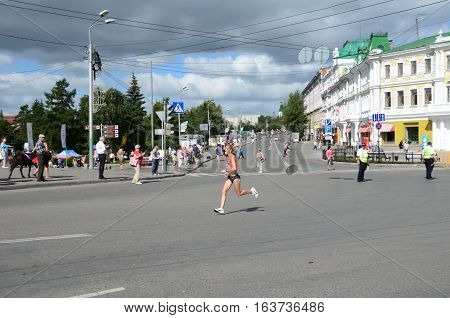 OMSK RUSSIA - AUGUST 7: Marathon runners in action at the Siberian International Marathon on August 7 2016 in Omsk.