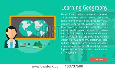 Learning Geography Conceptual Banner | Great flat icons with style long shadow icon and use for teacher, education, science, analysis, knowledge, learning, event and much more.
