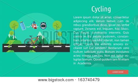 Cycling Conceptual Banner | Great flat icons design illustration concepts for sport, health, medical, banner and much more.