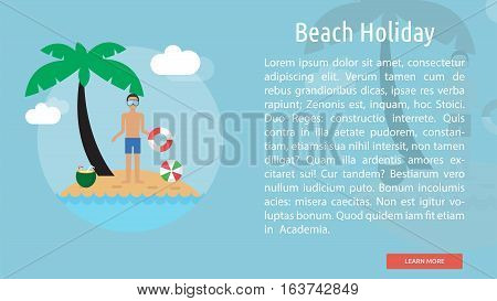Beach Holiday Conceptual Banner | Great flat icons design illustration concepts for holiday, recreations, traveling, banner and much more.
