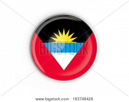 Flag Of Antigua And Barbuda, Round Icon With Metal Frame