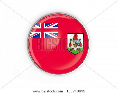 Flag Of Bermuda, Round Icon With Metal Frame