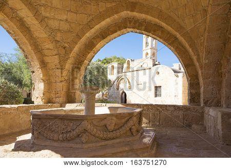 Aya Napa, Greece - November 26, 2016: Cyprus island, the fountain in the courtyard of the Monastery (14th century)