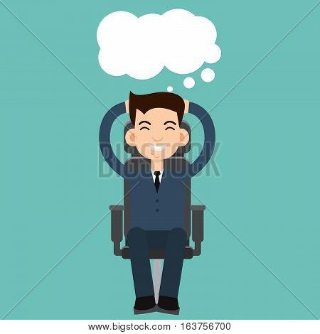 Businessman dreaming in chair about money illustration