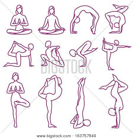 Yoga poses vector silhouettes, pilates fitness female exercises. Set of yoga poses, illustration of outline woman body in pose yoga