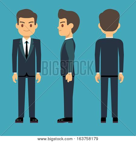Young person man in three points of view in business, office clothes vector set. Male dress code for business, illustration of confident businessman