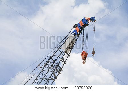 Crane Hook industry on sky background .