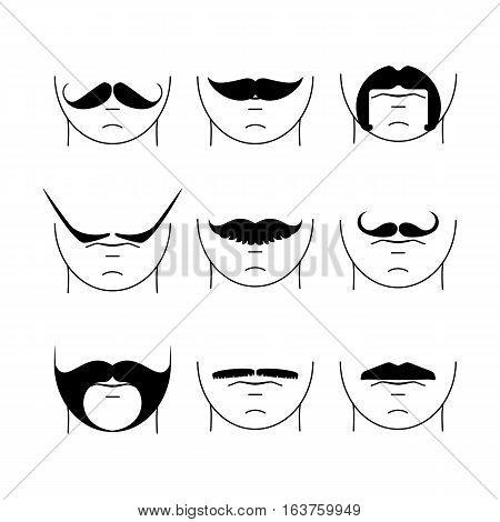 Big Set Of  Hipster Mustache.