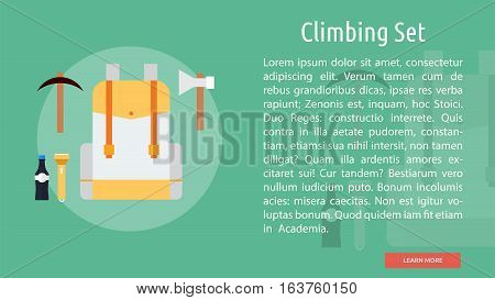 Climbing Set Conceptual Banner | Great flat icons design illustration concepts for holiday, recreations, traveling, banner and much more.