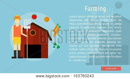 Farming Conceptual Banner | Great flat icons design illustration concepts for industry, agriculture, farming, banner and much more.