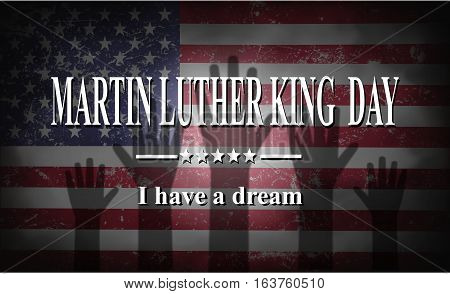 Martin Luther King Day American flag and hands illustration