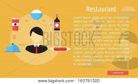Restaurant Conceptual Banner | Great flat icons design illustration concepts for business, food, industry, banner and much more.