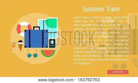 Summer Time Conceptual Banner | Great flat icons design illustration concepts for holiday, recreations, traveling, banner and much more.