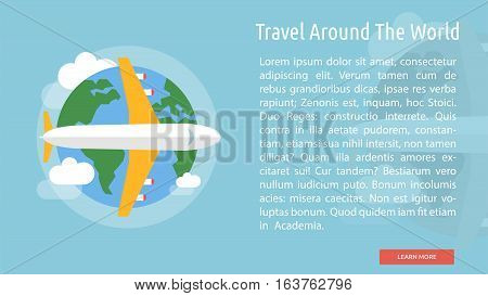 Travel Around The World Conceptual Banner | Great flat icons design illustration concepts for holiday, recreations, traveling, banner and much more.