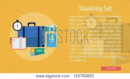 Traveling Set Conceptual Banner | Great flat icons design illustration concepts for holiday, recreations, traveling, banner and much more.