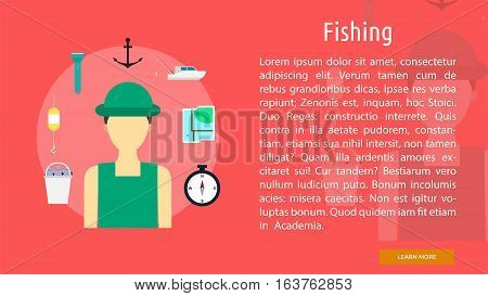 Fishing Conceptual Banner | Great flat icons design illustration concepts for holiday, recreations, traveling, banner and much more.