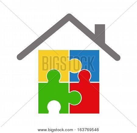 Colored Puzzle illustration art on white background